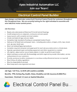 ELECTRICAL CONTROL PANEL BUILDER - NOW HIRING