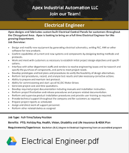 ELECTRICAL ENGINEER - NOW HIRING