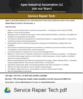 SERVICE REPAIR TECH - NOW HIRING
